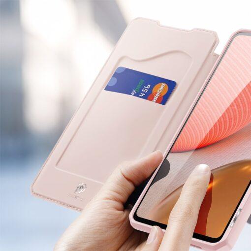 Samsung A72 kunstnahast kaaned kaarditaskuga DUX DUCIS Skin X roosa 2