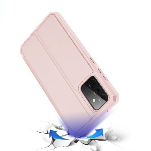 Samsung A72 kunstnahast kaaned kaarditaskuga DUX DUCIS Skin X roosa 3