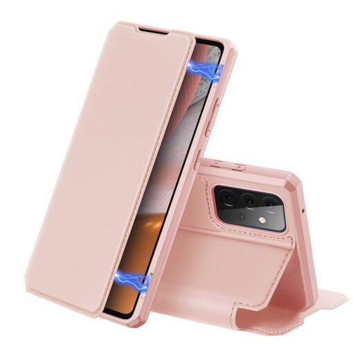 Samsung A72 kunstnahast kaaned kaarditaskuga DUX DUCIS Skin X roosa