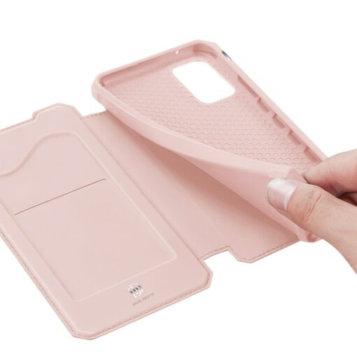 Samsung A72 kunstnahast kaaned kaarditaskuga DUX DUCIS Skin X roosa 7