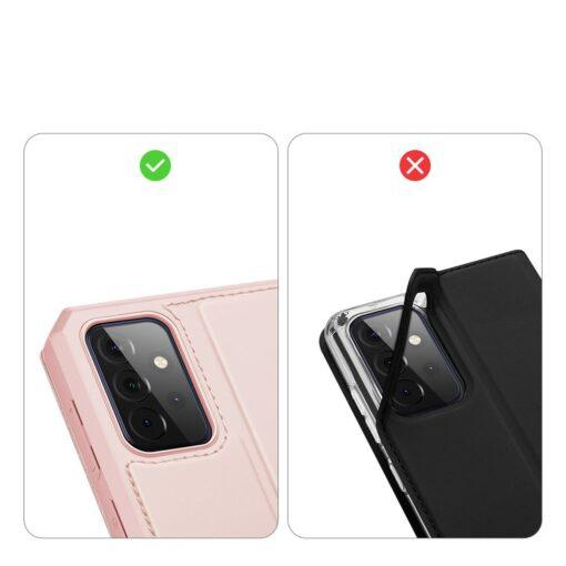 Samsung A72 kunstnahast kaaned kaarditaskuga DUX DUCIS Skin X roosa 8
