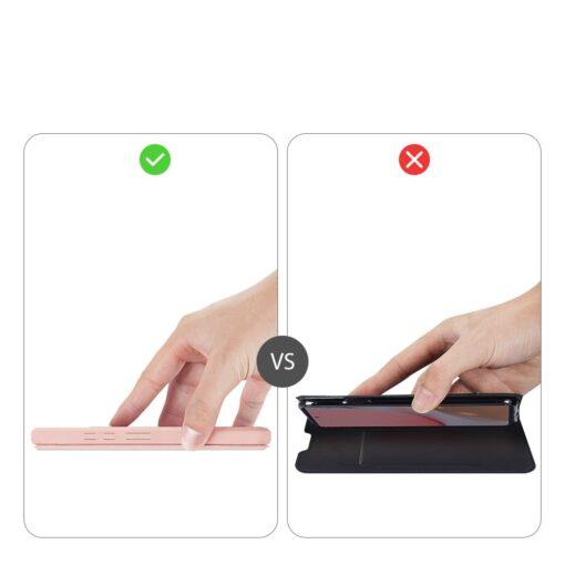 Samsung A72 kunstnahast kaaned kaarditaskuga DUX DUCIS Skin X roosa 9