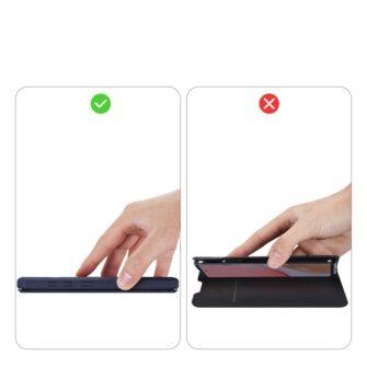 Samsung A72 kunstnahast kaaned kaarditaskuga DUX DUCIS Skin X sinine 10
