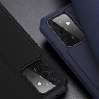 Samsung A72 kunstnahast kaaned kaarditaskuga DUX DUCIS Skin X sinine 11
