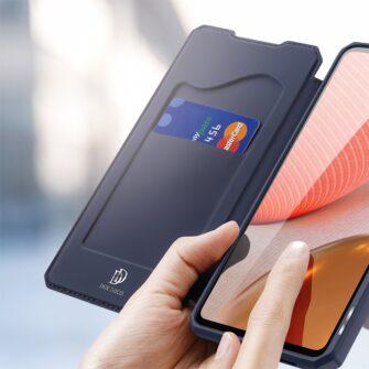 Samsung A72 kunstnahast kaaned kaarditaskuga DUX DUCIS Skin X sinine 2