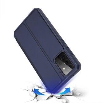 Samsung A72 kunstnahast kaaned kaarditaskuga DUX DUCIS Skin X sinine 3