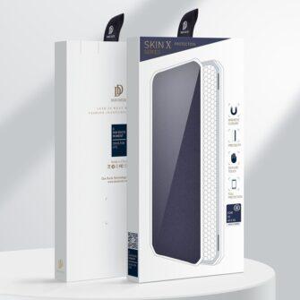 Samsung A72 kunstnahast kaaned kaarditaskuga DUX DUCIS Skin X sinine 4