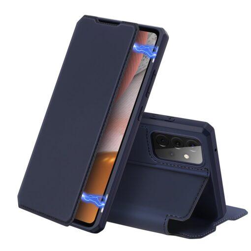 Samsung A72 kunstnahast kaaned kaarditaskuga DUX DUCIS Skin X sinine