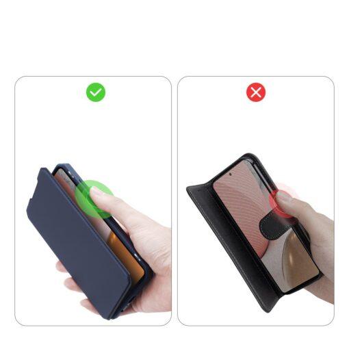 Samsung A72 kunstnahast kaaned kaarditaskuga DUX DUCIS Skin X sinine 8