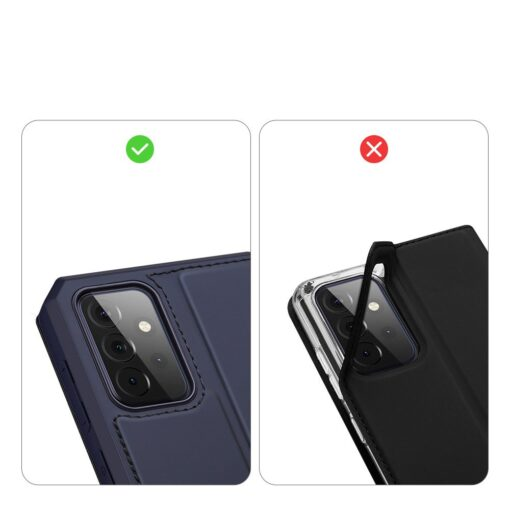Samsung A72 kunstnahast kaaned kaarditaskuga DUX DUCIS Skin X sinine 9