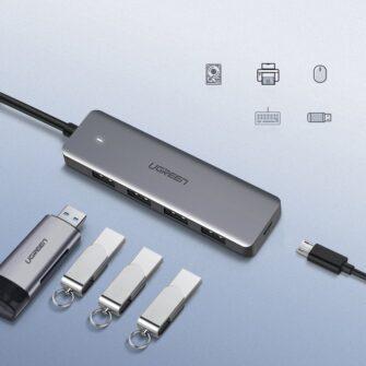 Ugreen USB C Hub jagaja 4x 3.2 USB power port CM219 70336 5