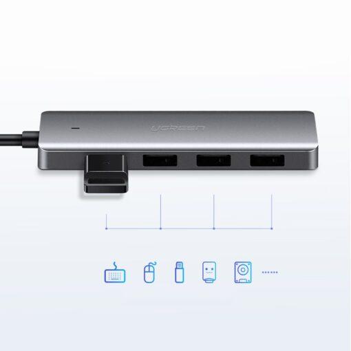 Ugreen USB C Hub jagaja 4x 3.2 USB power port CM219 70336 7
