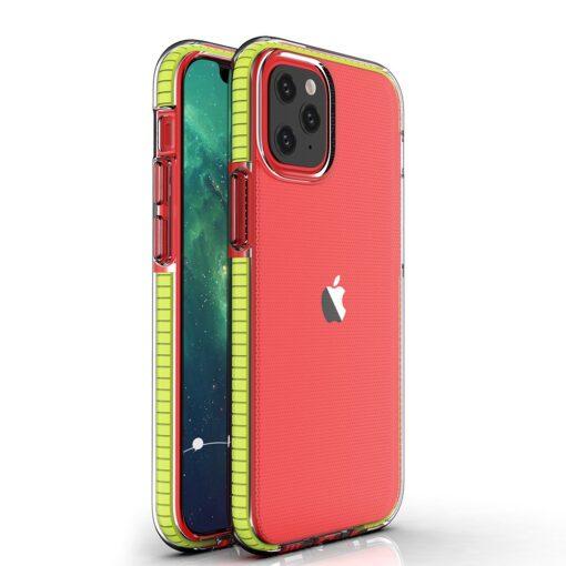 iPhone 12 12 Pro umbris silikoonist labipaistev raamiga kollane