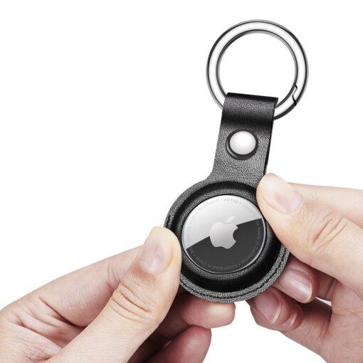 Apple AirTag kunstnahast votmehoidja Dux Ducis must 11
