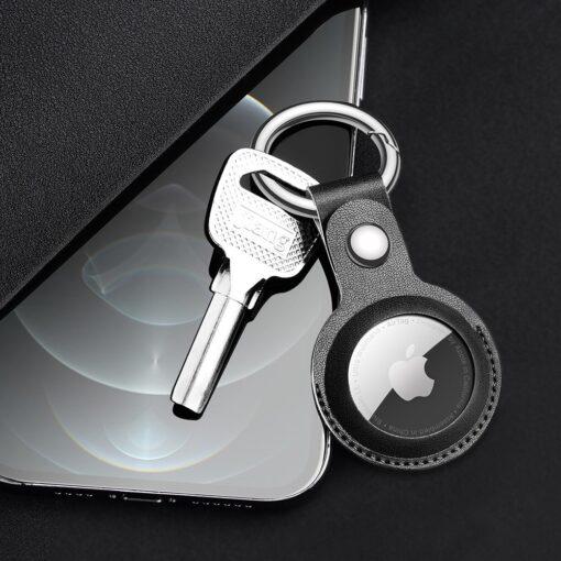 Apple AirTag kunstnahast votmehoidja Dux Ducis must 9