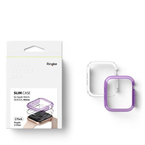Apple Watch umbris Ringke Slim 2tk Watch 6 40mm Watch 5 40mm Watch 4 40mm Watch SE 40mm labipaistev lilla 4