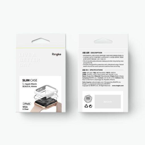 Apple Watch umbris Ringke Slim 2tk Watch 6 44mm Watch 5 44mm Watch 4 44mm Watch SE 44mm labipaistev valge 4