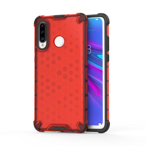 Huawei P30 Lite plastikust kargstruktuuri ja silikoonist raamiga umbris punane