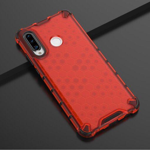 Huawei P30 Lite plastikust kargstruktuuri ja silikoonist raamiga umbris punane 9