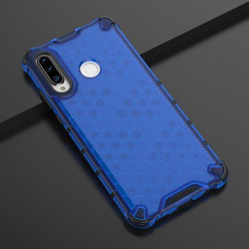 Huawei P30 Lite plastikust kargstruktuuri ja silikoonist raamiga umbris sinine 9