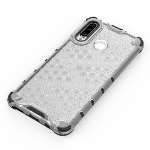 Huawei P30 Lite plastikust kargstruktuuri ja silikoonist raamiga umbris valge 1