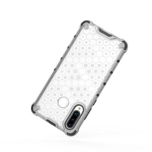 Huawei P30 Lite plastikust kargstruktuuri ja silikoonist raamiga umbris valge 3