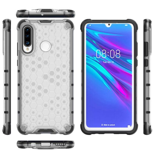 Huawei P30 Lite plastikust kargstruktuuri ja silikoonist raamiga umbris valge 6