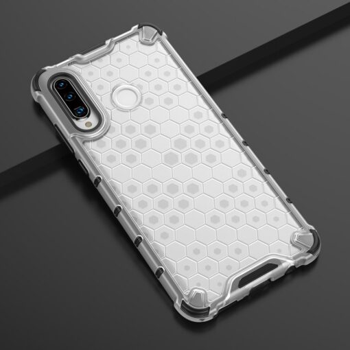 Huawei P30 Lite plastikust kargstruktuuri ja silikoonist raamiga umbris valge 7