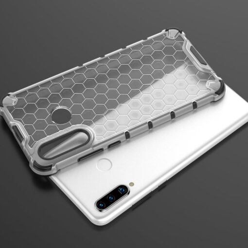 Huawei P30 Lite plastikust kargstruktuuri ja silikoonist raamiga umbris valge 8