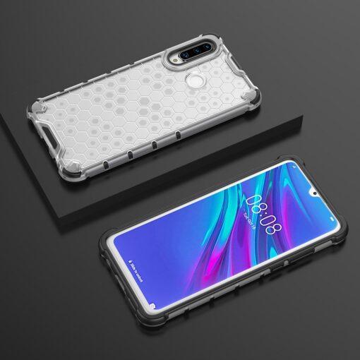 Huawei P30 Lite plastikust kargstruktuuri ja silikoonist raamiga umbris valge 9
