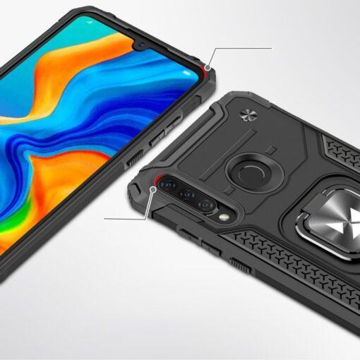 Huawei P30 Lite tugev umbris Ring Armor plastikust taguse ja silikoonist nurkadega must 1