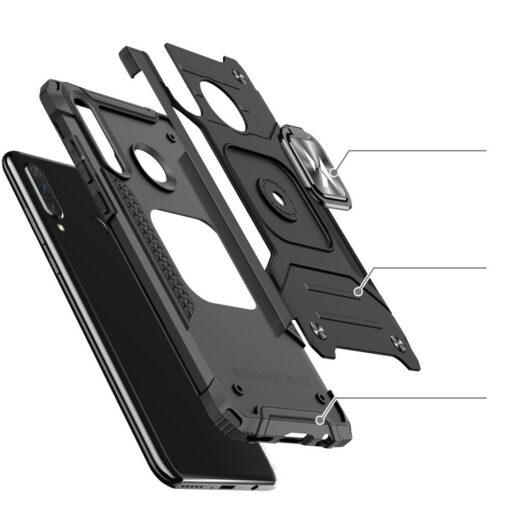 Huawei P30 Lite tugev umbris Ring Armor plastikust taguse ja silikoonist nurkadega must 2
