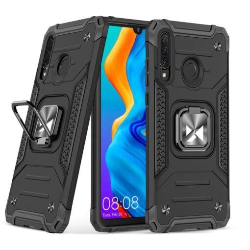 Huawei P30 Lite tugev umbris Ring Armor plastikust taguse ja silikoonist nurkadega must