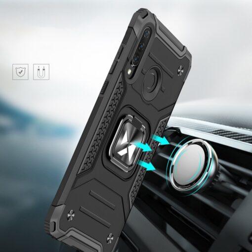 Huawei P30 Lite tugev umbris Ring Armor plastikust taguse ja silikoonist nurkadega must 6