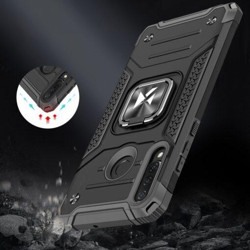 Huawei P30 Lite tugev umbris Ring Armor plastikust taguse ja silikoonist nurkadega must 7