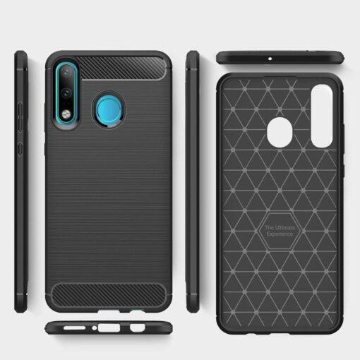 Huawei P30 Lite umbris silikoonist Carbon must 2