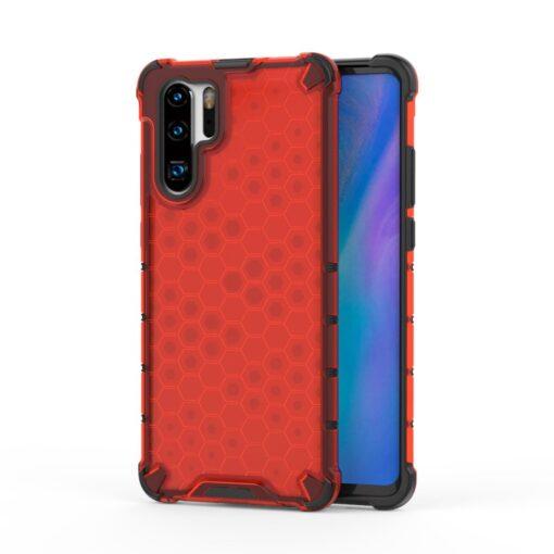 Huawei P30 Pro plastikust kargstruktuuri ja silikoonist raamiga umbris punane