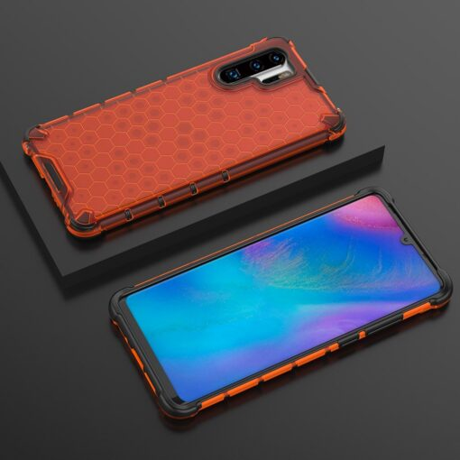 Huawei P30 Pro plastikust kargstruktuuri ja silikoonist raamiga umbris punane 6