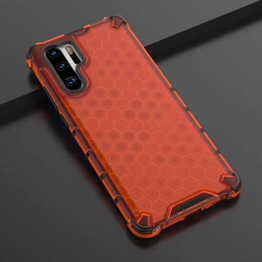 Huawei P30 Pro plastikust kargstruktuuri ja silikoonist raamiga umbris punane 7
