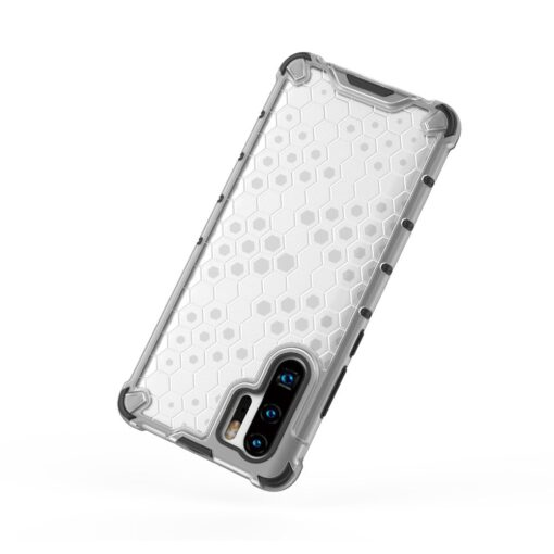 Huawei P30 Pro plastikust kargstruktuuri ja silikoonist raamiga umbris valge 1