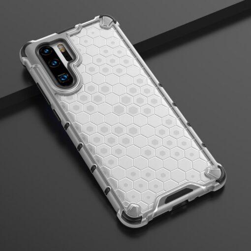 Huawei P30 Pro plastikust kargstruktuuri ja silikoonist raamiga umbris valge 10