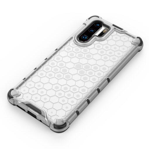 Huawei P30 Pro plastikust kargstruktuuri ja silikoonist raamiga umbris valge 5