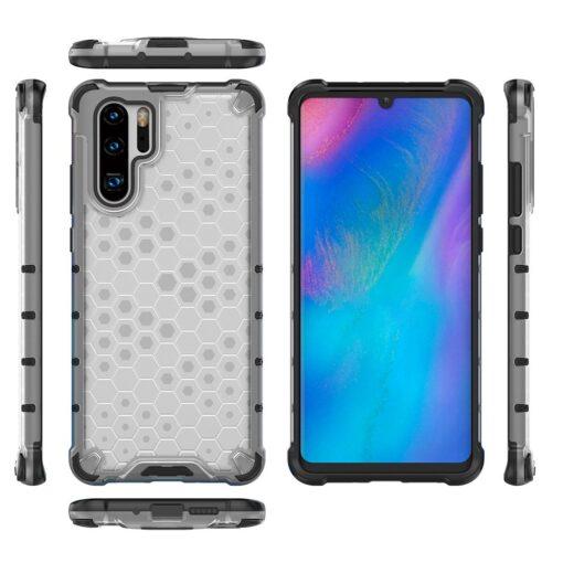 Huawei P30 Pro plastikust kargstruktuuri ja silikoonist raamiga umbris valge 7
