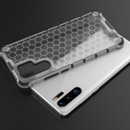 Huawei P30 Pro plastikust kargstruktuuri ja silikoonist raamiga umbris valge 8