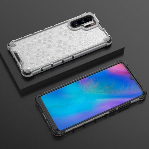 Huawei P30 Pro plastikust kargstruktuuri ja silikoonist raamiga umbris valge 9