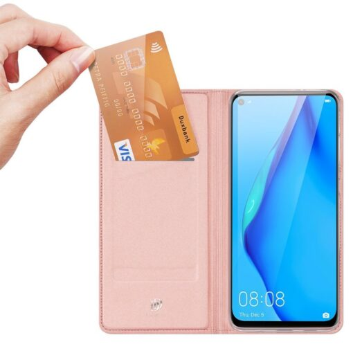 Huawei P40 Lite kunstnahast kaaned DUX DUCIS Skin Pro Bookcase roosa 1