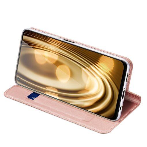 Huawei P40 Lite kunstnahast kaaned DUX DUCIS Skin Pro Bookcase roosa 3