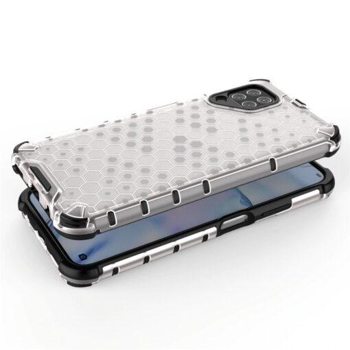 Huawei P40 Lite plastikust kargstruktuuri ja silikoonist raamiga umbris valge 2
