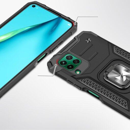 Huawei P40 Lite tugev umbris Ring Armor plastikust taguse ja silikoonist nurkadega must 1
