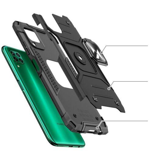 Huawei P40 Lite tugev umbris Ring Armor plastikust taguse ja silikoonist nurkadega must 2